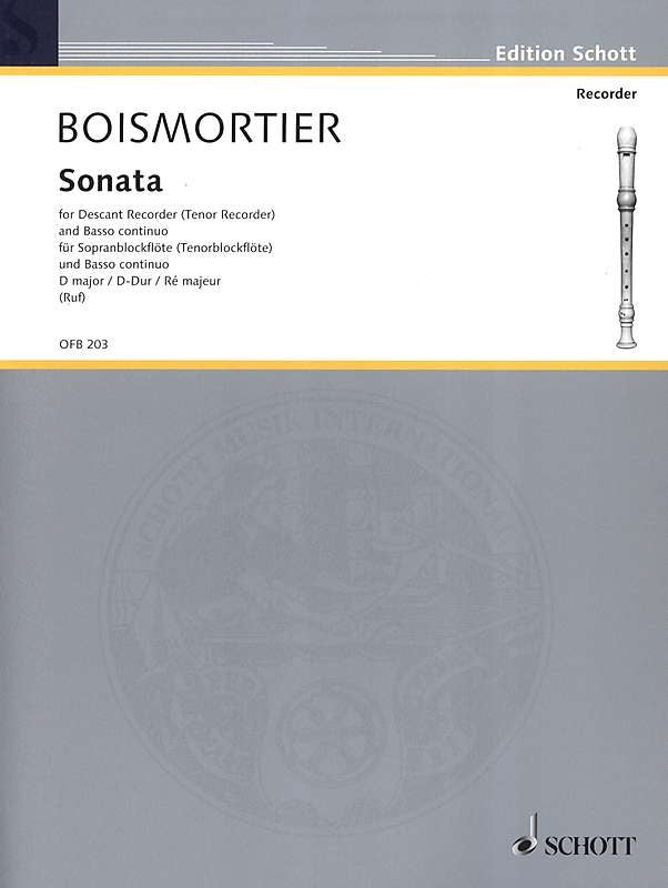 Boismortier: Sonata in D Major for Descant Recorder and Basso Continuo