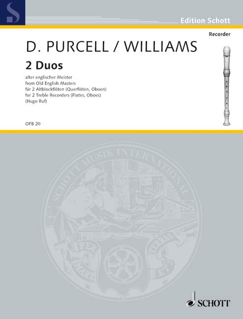 Purcell/ Williams: 2 Duos for 2 Treble Recorders