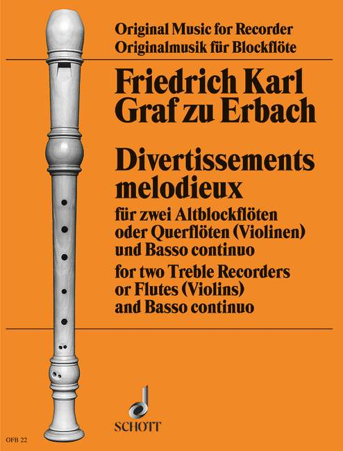 Erbach: Divertissements Melodieux for 2 Treble Recorders and Basso Continuo