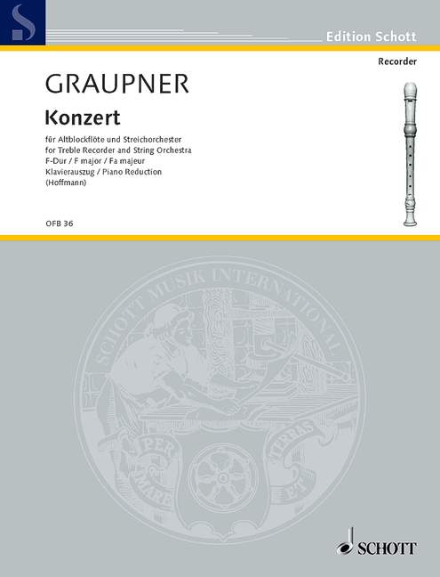 Graupner: Concerto in F Major for Treble Recorder and Basso Continuo - Piano Reduction