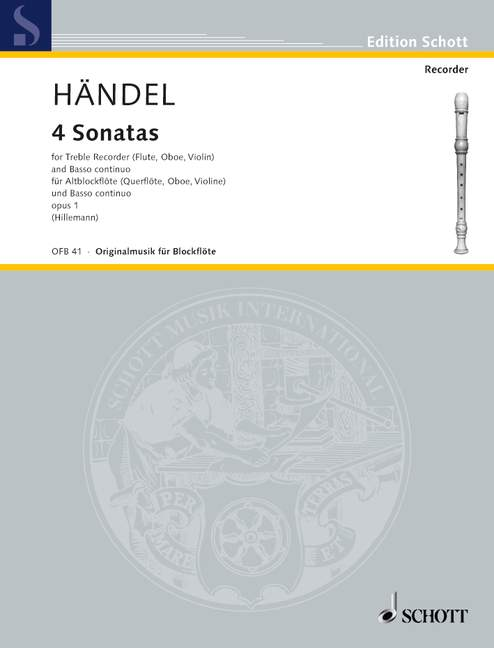 Handel: Four Sonatas for Treble Recorder and Basso Continuo, Op. 1