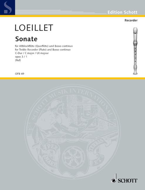 Loeillet: Sonata in C Major Op. 3/1 for Treble Recorder and Basso Continuo