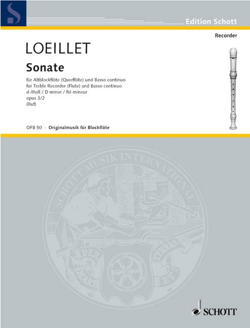 Loeillet: Sonata in D Minor Op. 3/2 for Treble Recorder and Basso Continuo