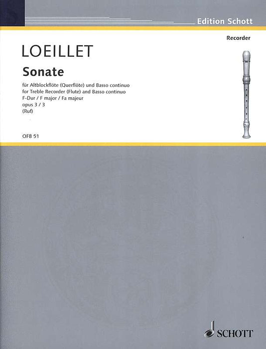 Loeillet: Sonata in F Major Op. 3/3 for Treble Recorder and Basso Continuo,