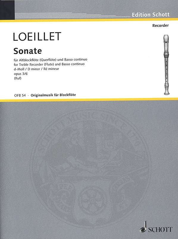 Loeillet: Sonata in D Minor Op. 3/6 for Treble Recorder and Basso Continuo