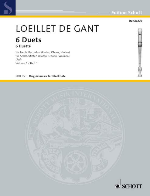 Loeillet: 6 Duets for Treble Recorders, Vol. 1