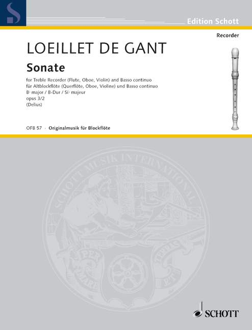 Loeillet: Sonata in B Flat Major Op. 3/2 for Treble Recorder and Basso Continuo