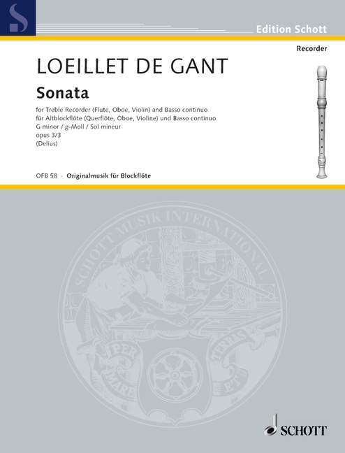 Loeillet: Sonata in G Minor Op. 3/3 for Treble Recorder and Basso Continuo