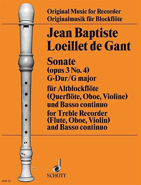 Loeillet: Sonata in G Major Op. 3/4 for Treble Recorder and Basso Continuo
