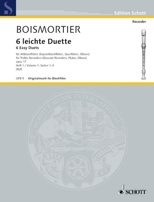 Boismortier: 6 Easy Duets for 2 Treble Recorders, Vol. 1