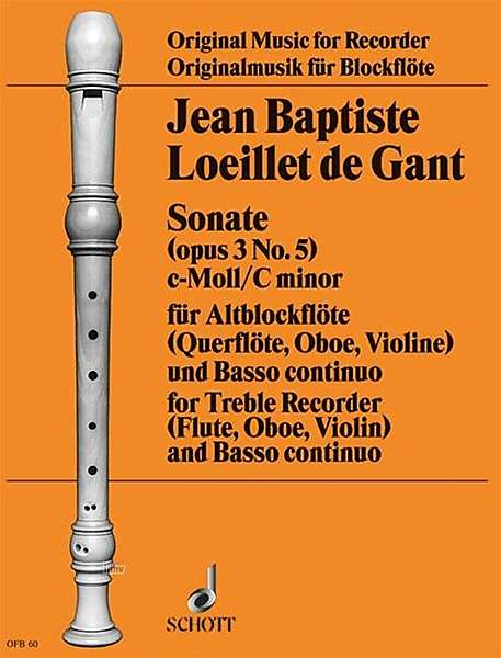 Loeillet: Sonata in C Minor Op. 3/5 for Treble Recorder and Basso Continuo