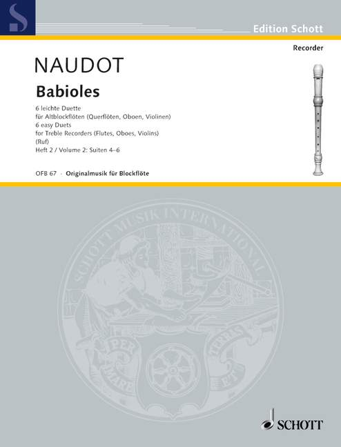 Naudot: Babioles - Six Easy Duets for Treble Recorders, Vol. 2