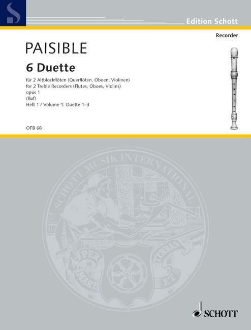 Paisible: 6 Duets from Op. 1 for Treble Recorders, Vol. 1