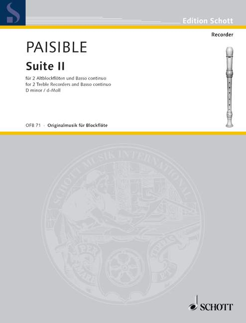 Paisible: Suite II in D Minor for 2 Treble Recorders and Basso Continuo