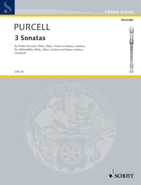 D. Purcell: 3 Sonatas for Treble Recorder and Basso Continuo