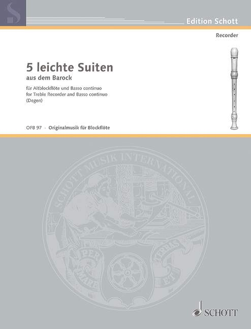Various: 5 Easy Baroque Suites for Treble Recorder and Basso Continuo