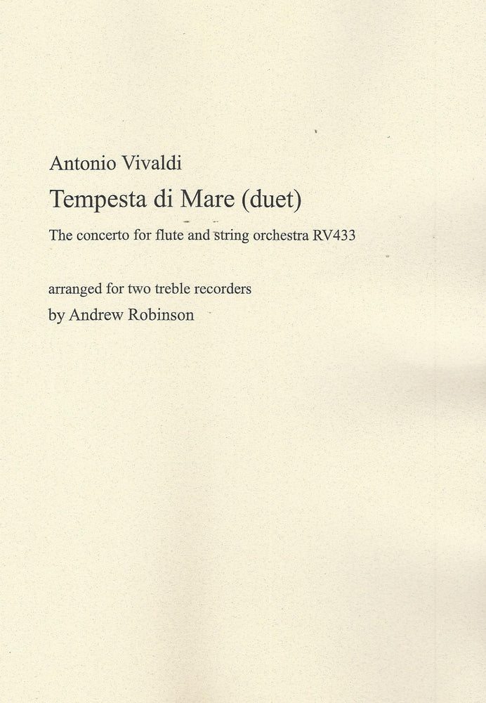 Vivaldi: Tempesta di Mare arranged for 2 Treble Recorders