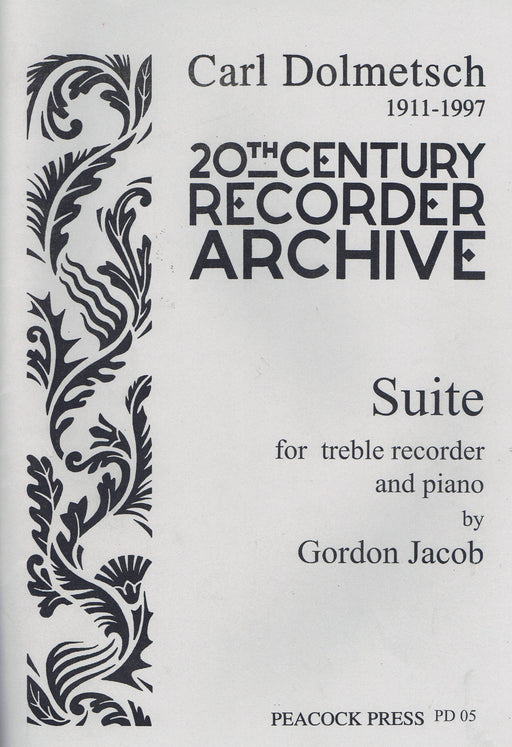 Jacob: Suite for Treble Recorder and String Quartet - Piano Reduction