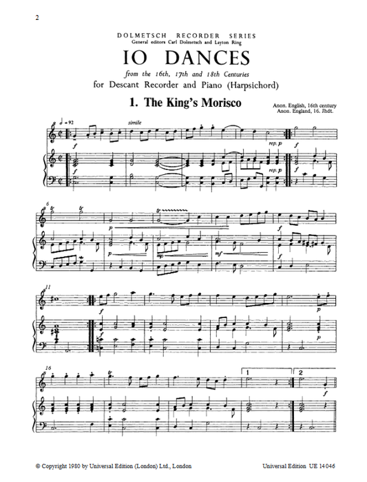 Various: 10 Dances of the C16th-18th for Descant recorder and Piano