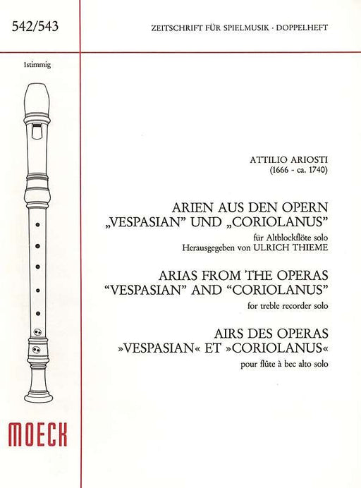 Ariosti: Arias from Vespasian and Coriolanus for Alto Recorder Solo