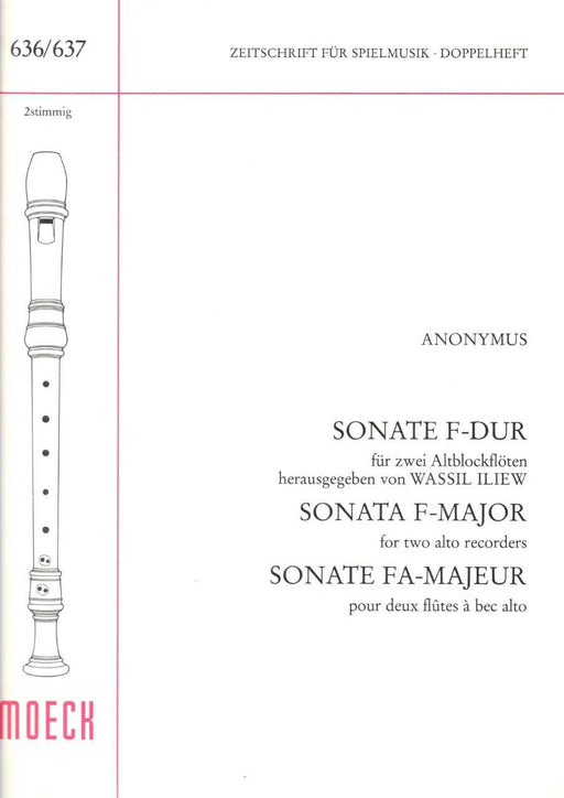 Anonymous: Sonata in F Major for 2 Treble Recorders