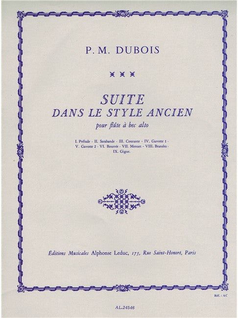 Dubois: Suite in the Old Style for Alto Recorder Solo