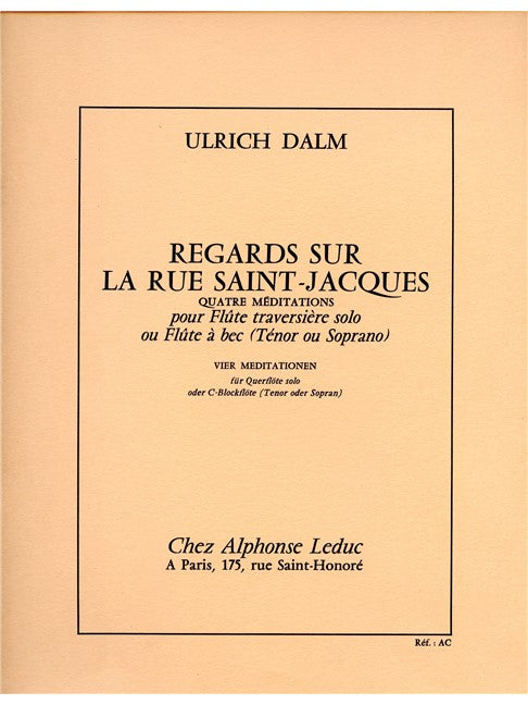 Dalm: Regards sur la Rue Saint-Jacques for Soprano Recorder