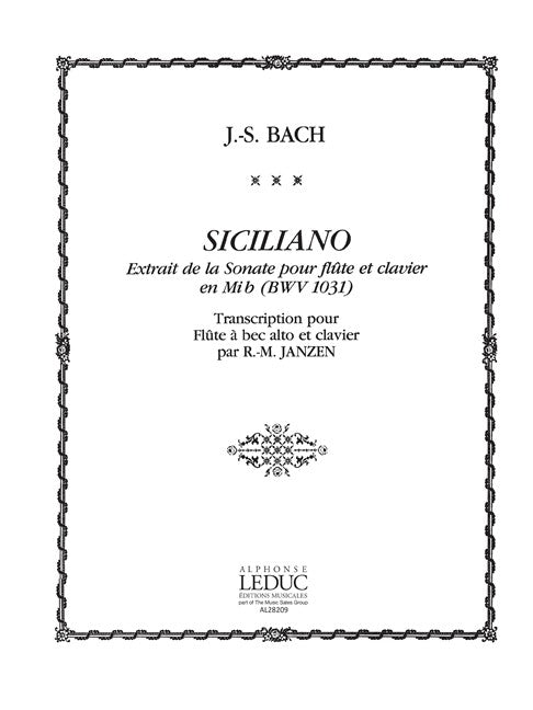 Bach, J.S.: Sicilienne for Alto Recorder and Keyboard