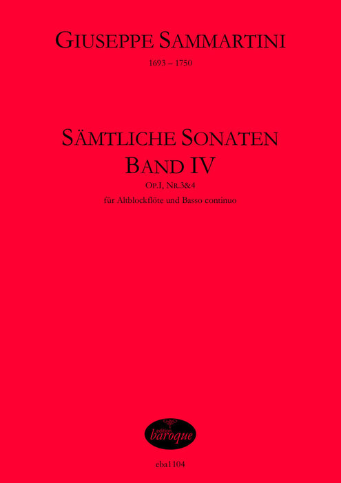 Sammartini: Complete Sonatas for Treble Recorder and Basso Continuo, Vol. 4
