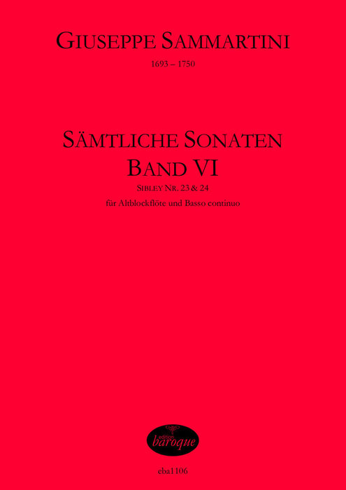 Sammartini: Complete Sonatas for Treble Recorder and Basso Continuo, Vol. 6