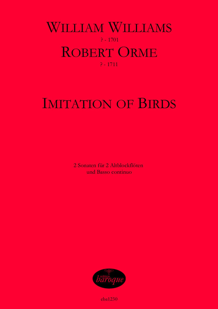 Williams/ Orme: Imitation of Birds - 2 Sonatas for 2 Treble Recorders and Basso Continuo