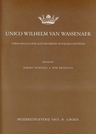 van Wassenaer: 3 Sonatas for Treble Recorder and Basso Continuo