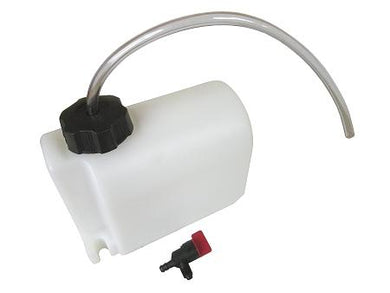 Heavy-duty plastic 2 quart fuel tank.
