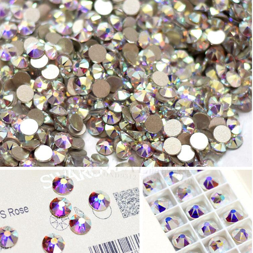 AAAAA SS3 1440pcs/bag Flat Back Nail Art crystal ab Glue On Non Hotfix rhinestones for nails diy nail accessori decorations