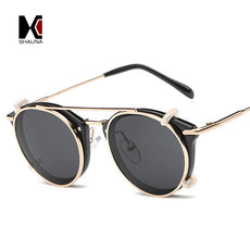 SHAUNA Retro Women Steampunk Sunglasses Brand Designer Flip Separable Lens Fashion Men Round Punk Glasses UV400