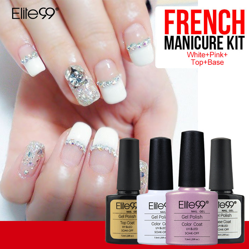 Elite99 7.3ml French Manicure Set Nail Gel Polish Top Base Coat ...