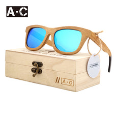 New fashion Products Men Women Glass Bamboo Sunglasses au Retro Vintage Wood Lens Wooden Frame Handmade ZG03