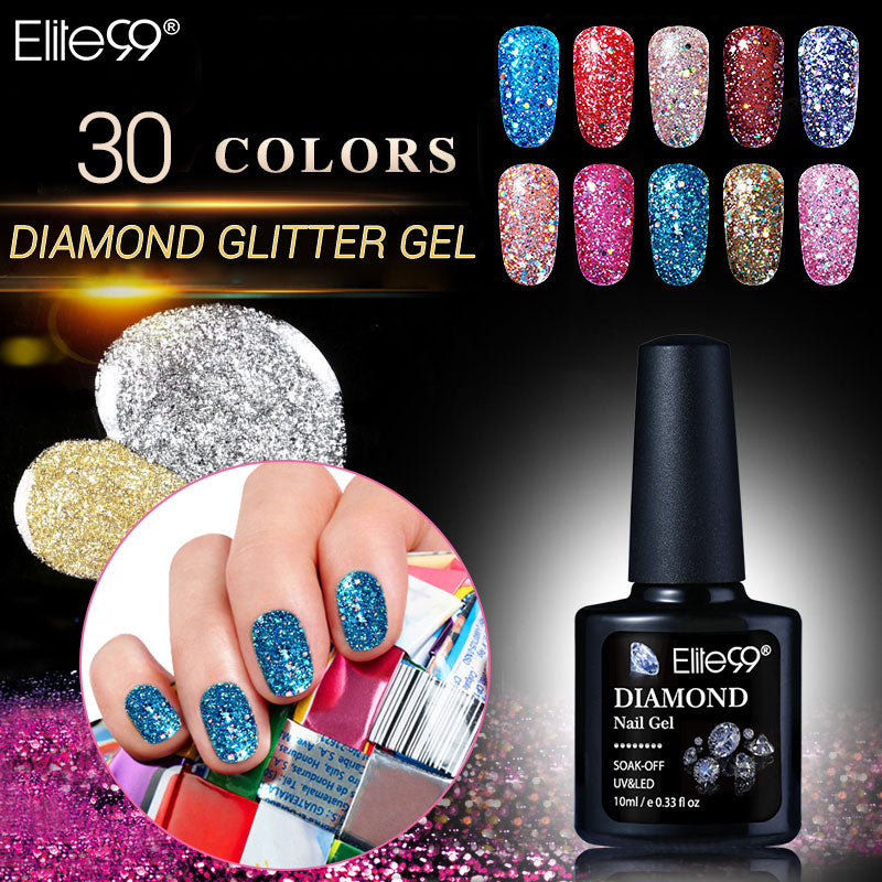 Elite99 10ml Diamond Glitter UV Gel Polish 30pcs Soak Off UV LED Sequins Bling Nail Art Gel Wholesale Hot Selling Manicure