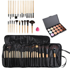 Professional Beauty Makeup Brushes Concealer Fashion15 Color Concealer Platte + 24pcs Makeup Cosmetic Brushes + Sponge Puff Set
