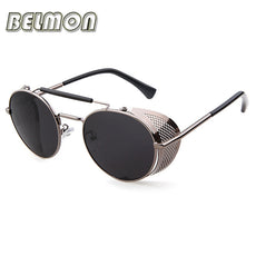 BELMON Steampunk Sunglasses Men Women 2017 Brand Designer Sun Glasses For Ladies Punk Goggles Vintage Female Male Oculos RS103