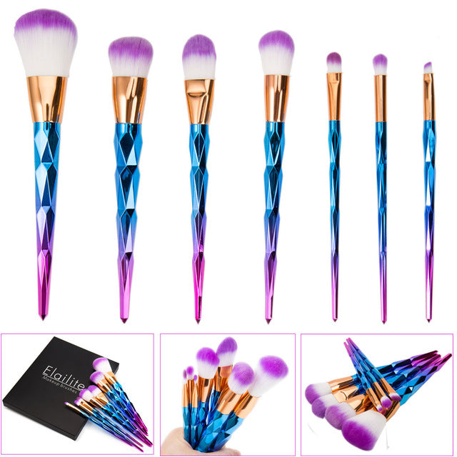 7/10/12Pcs Diamond Shape Makeup Brush Set Dazzle Glitter Foundation Powder Makeup Brushes Unicorn Rainbow Makeup Eyeshadow Brush