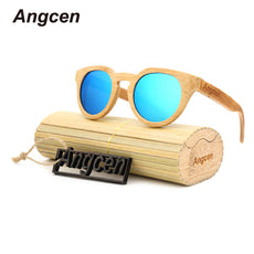 Angcen Ms packages mailed 2016 bamboo, wood retro fashion polarized light green natural sunglasses by hand ZA05