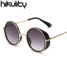 Hikulity Vintage Round Steampunk Sunglasses Men Luxury Brand Side Protection Sun Glasses Women Retro Punk Sunglasses
