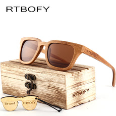 Wood Sunglasses Men Square Bamboo Sunglasses Vintage Wood HD Lens Frame Handmade Sun Glasses For Men Eyewear Oculos