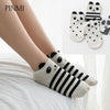 3 Pairs Cute Socks Women 2017 Summer Panda Cotton Short Funny Socks Happy Ankle Socks Female Fashion Stripe Sox Meias Calcetines