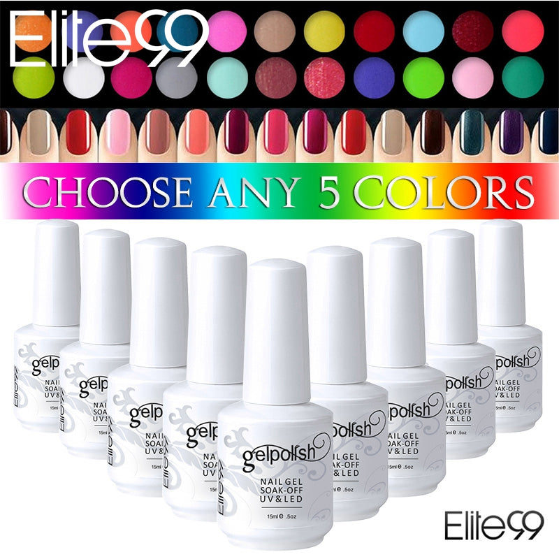 Elite99 Gel Polish Any 5 Bottles Glitter Nail Polish Curing Top Base ...