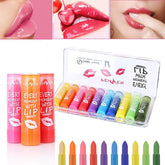 10 Pcs Temperature Change Color Lip Balm Makeup Kit Cosmetic Lip stick Transparent Jelly Pink Moisturizer Lipstick A2
