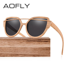 AOFLY Polarized Sun Glasses for Women Bamboo Sunglasses Handmade Bamboo Frame Classic Brand Designer Twin-Beams Goggles AF604