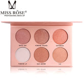 1PC Professional Face Contour Make Up Pigment 6 Color White Gold Nude Shimmer Mineral Powder Miss Rose Makeup Highlight Palette