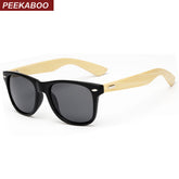 Peekaboo Brand design rivets classic 2017 bamboo sunglasses mens women real bamboo sun glasses mirror matte black gafas sol